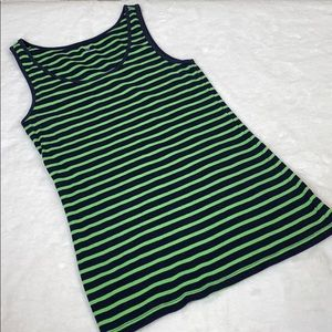 Gap Green and Blue Striped Sleeveless Tap Top